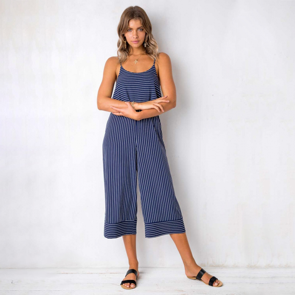 3 Color Striped Loose Jumpsuit Women Casual Sleeveless Spaghetti Strap Wide Leg Pants Women's Jumpsuit Elegant Overalls Jumpsuit