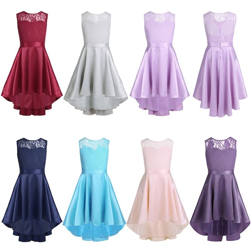 Image 2 - New Fashion Girls Lace High low Hem V back Flower Girl Dress Sleeveless A Line Princess Girl Pageant Wedding Party Dress SZ 4 14Flower Girl Dresses   -