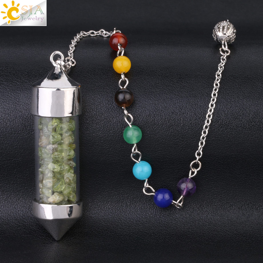 CSJA Новое поступление 7 Чакра Желая бутылка маятник рейки натуральный чип камень кулон ожерелье для женщин мужчин гадания амулет F976 - Окраска металла: Olivine