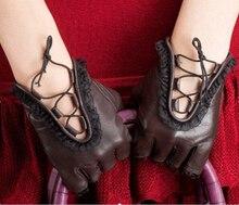 2017 Winter Women's Genuine Leather Gloves Goatskin Half Finger Gloves