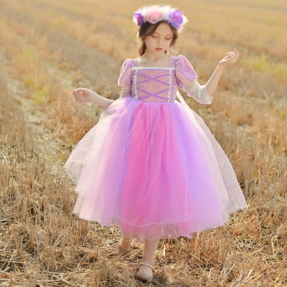 260ec7c7a5f Stunning Rapunzel Costumes Purple Ball Gown Princess Dresses Party Prom  Girl Dress Tangled Holiday Costumes 2-13 Year 2018