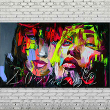 Palette knife portrait Face Oil painting Character figure canvas Hand painted Francoise Nielly wall Art picture 711