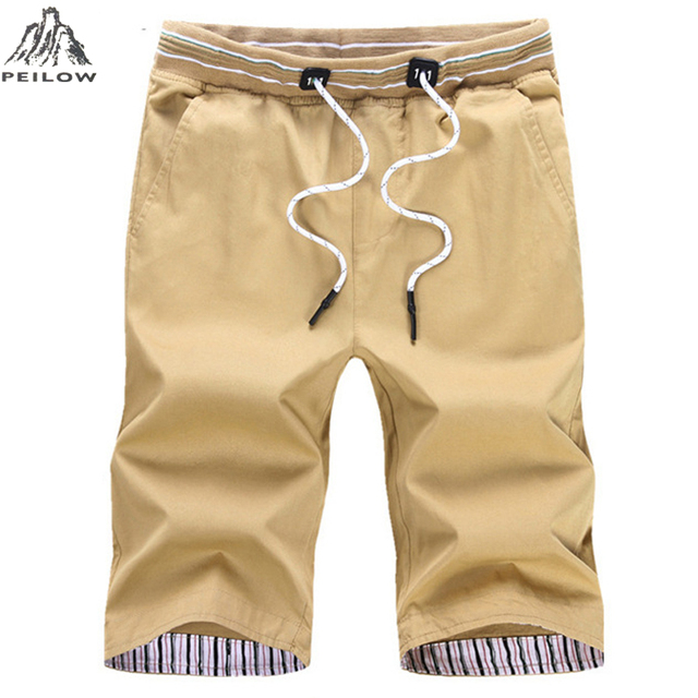 PEILOW Summer Casual Shorts Men Cotton Slim Fit Solid Color Knee length Elastic Waist Bermuda beach shorts trousers size M~5XL