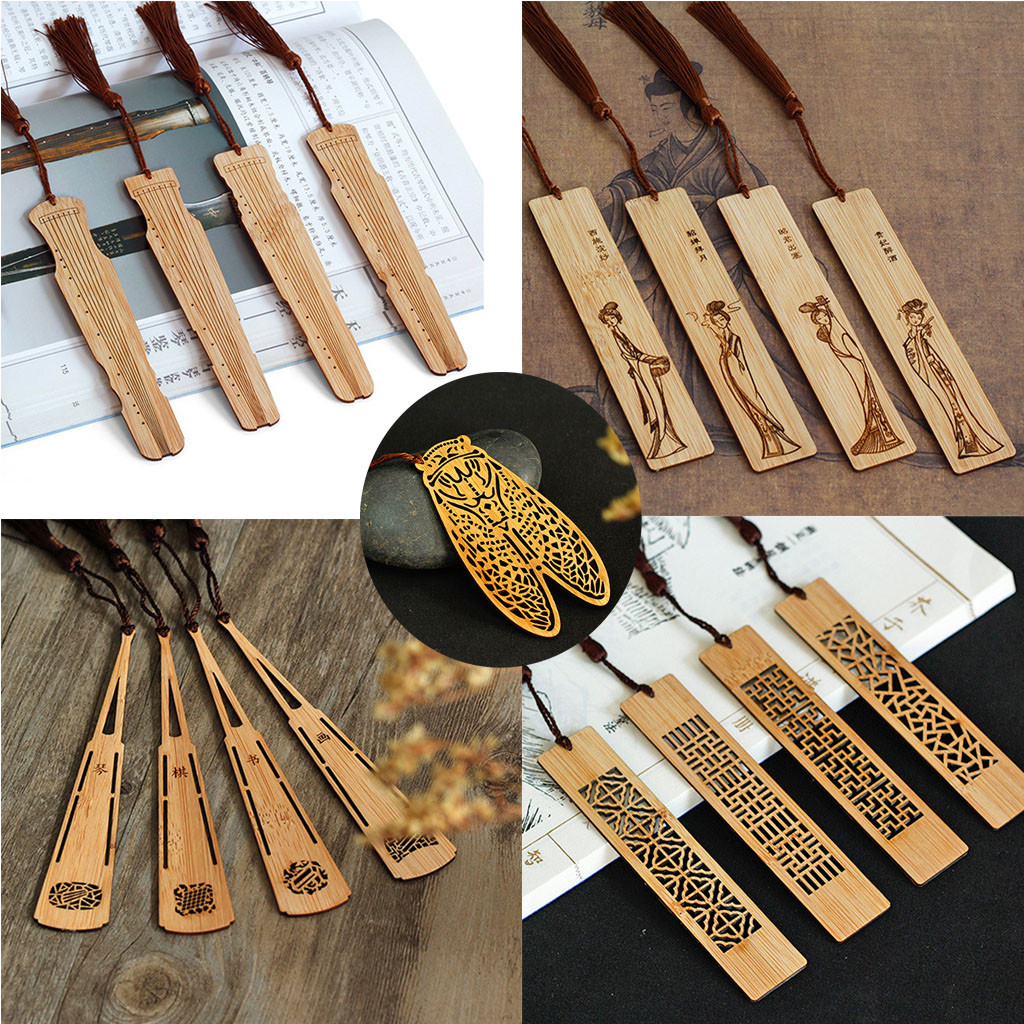 4pcs Wooden Bookmarks Classic Vintage Hollow Retro Chic Bookmark Fir Gifts