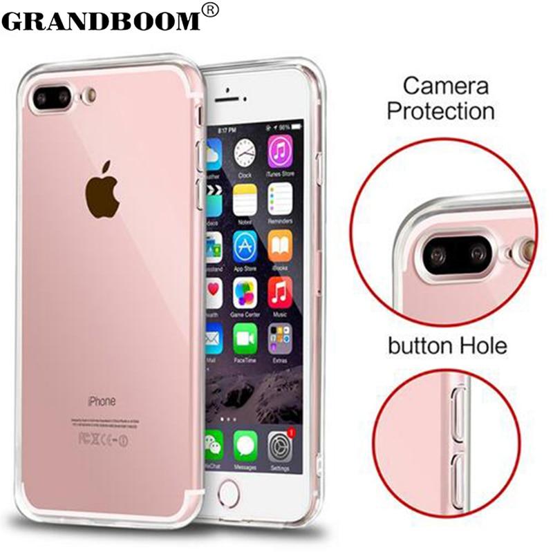 bilder für GRANDBOOM Dünne Transparente Plexiglas Weiche TPU Stoßfest Hard Case für iPhone 7 Plus 6 6 S 5 5 S Mit Staubstecker 10 stücke