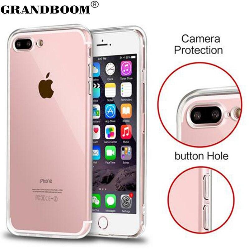 Цена за GRANDBOOM Тонкий Прозрачный Акриловый Силиконовый Противоударный Твердый Переплет Чехол для iPhone 7 Плюс 6 6 S 5 5S С Dust Разъем 10 шт.