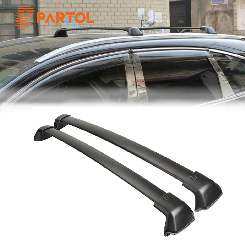 Partol 1 Pair Black Aluminum Side Rails Car Roof Rack Cross Bars for Honda CRV 2012-2016 132 LBS 60KG Mounted On Car Rooftop цена