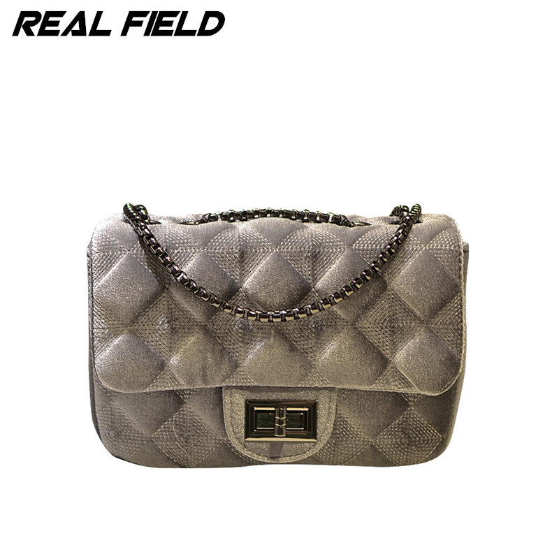 Real Field RF Women Messenger Bags Velour New Fashion Ladies Crossbody Polyester Girls Chain Shoulder Handbags Sewing Bolsas 288