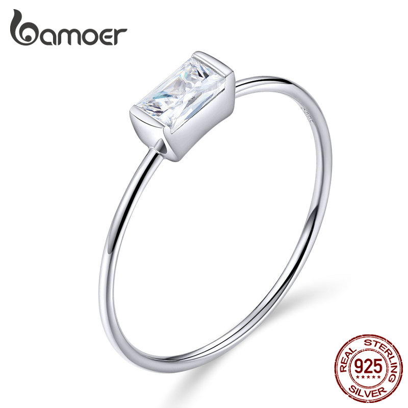 BAMOER Luxury Brand Fashion Sterling Silver 925 Bridal Ring for Women with Paved Micro Zircon Crystal Wedding Jewelry SCR565(China)