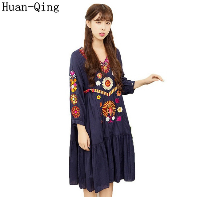 High Quality Runway 2017 Summer Women Vintage Boho Mexican People Luxury  Embroidered Loose Dress Vestido Party Dresses Plus Size db49d9c4f536