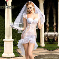 Hot White Bride Cosplay Tuxedo skirt Wedding Dress+Veil+Gloves+Thong Sexy Baby Doll Sexy Lingerie Sexy Babydoll Costumes 292