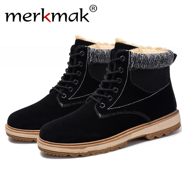online store 521c0 8faf1 Merkmak luxus Winter Stiefel Männer Mode Pelz Flock Schuhe Leder  Stiefeletten Warme Casual