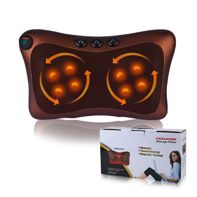 Electric Shiatsu Kneading Neck Massager Shoulder Back Body Massage Pillow Home Car Dual-Use Body Relaxation Pain Relief Massager