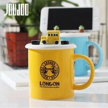 JOUDOO Creative Car Design Ceramic Mug Cup with Lid Cute Phone Holder Mugs Office Home Couple Coffee Drinkware 35