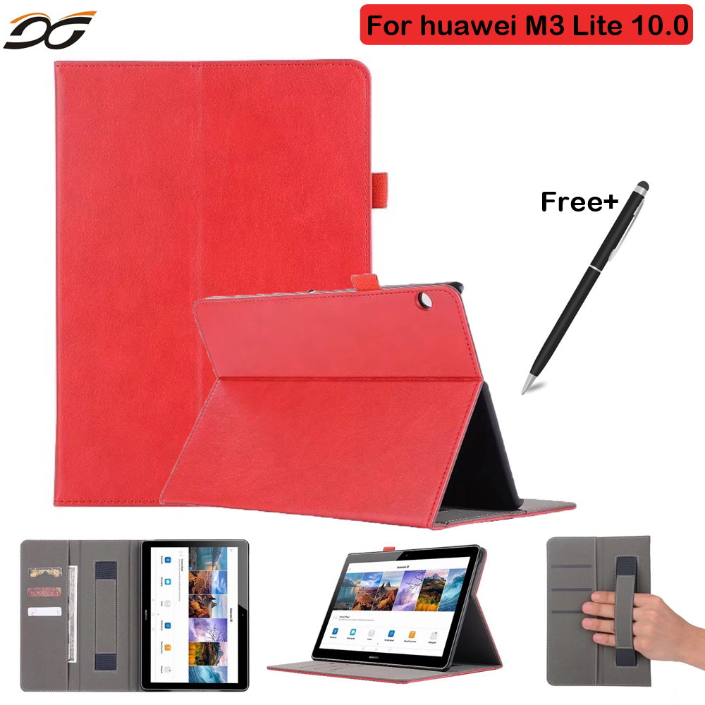 Luxury Cover Case For Huawei MediaPad M3 Lite 10 BAH-W09 BAH-AL00 10.1 Hand Holder PU Leather Case for Huawei M3 10.0 Tablet pu leather cover for huawei m3 lite 8 0 stand case with stylus holder for huawei mediapad m3 lite 8 0 cpn al00 w09 tablet case