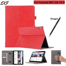 """M3 Cubierta de lujo Del Caso Para Huawei MediaPad 10 Lite BAH-W09 BAH-AL00 10.1 """"mano Titular de Cuero de LA PU para Huawei M3 10.0 Tablet"""