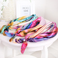 60cm*60cm Satin Square Neckerchiefs 2 pieces /lot Printing Flower Wristband Seasonless Hairband Neck Scarf