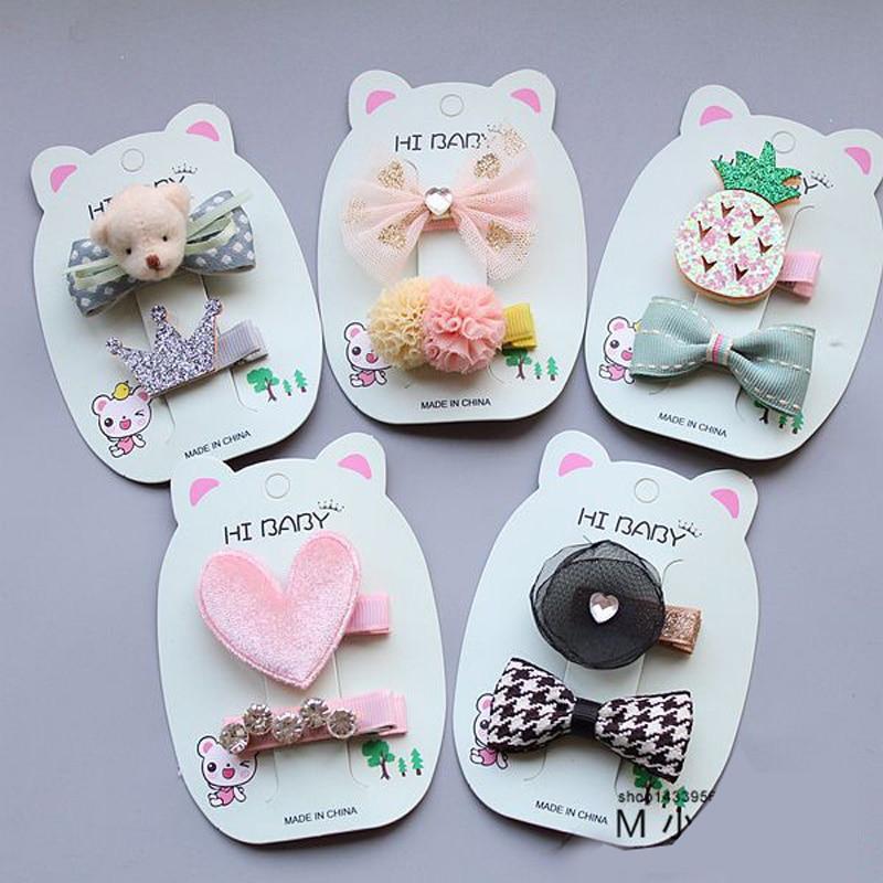 MIXIU 2pcs/set Cute Bowknot Star Hairball Flower Princes Hairpin Baby Kids Girls Hair Clip Hair Accessories Headwear Hairgrip