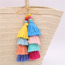 RE Vintage Colorful Layered Tassel Keychains Fringe Ball Pompom Pendant Car Key Chain Cute Bohemia Accessories for Women Bag T34 layered rhinestone ball sweater chain
