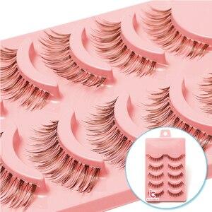 Image 1 - 5 Paar Natuurlijke Zachte Bruine Wimpers Make Handgemaakte Dikke Fake Valse Wimpers Uitbreiding Natural Look Clear Band