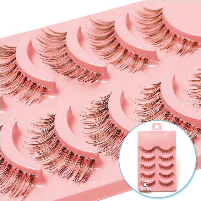 5 Paar Natuurlijke Zachte Bruine Wimpers Make Handgemaakte Dikke Fake Valse Wimpers Uitbreiding Natural Look Clear Band