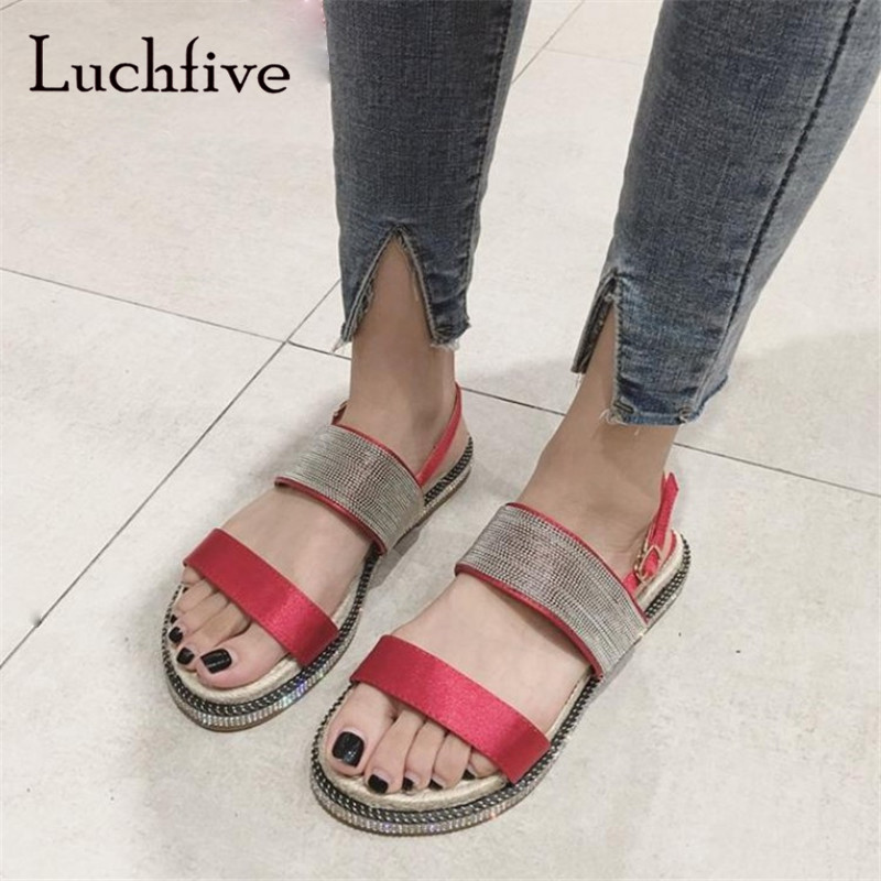 Rhinestone women sandals classic ankle buckle strap sexy open toe comfortable low heels summer black red sandalias mujer new rhinestone women sandals ankle buckle strap fashion open toe comfortable chunky high heels red black shoes zapatos mujer