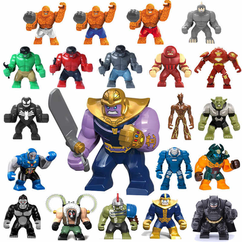 Kids Favorite The Avengers Heroes Hulk Batman Thanos DIY Model Building Blocks Kit Children Education Puzzle Toys Gifts