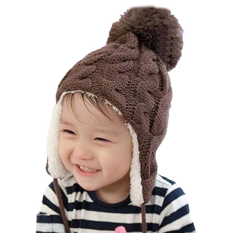 Unisex Bomber Hats Boy Girl Add Velvet Big Pom Pom Knit Earmuffs Beanies Hat Kids Thick Cable Earflap Cap Child Winter Warm Caps