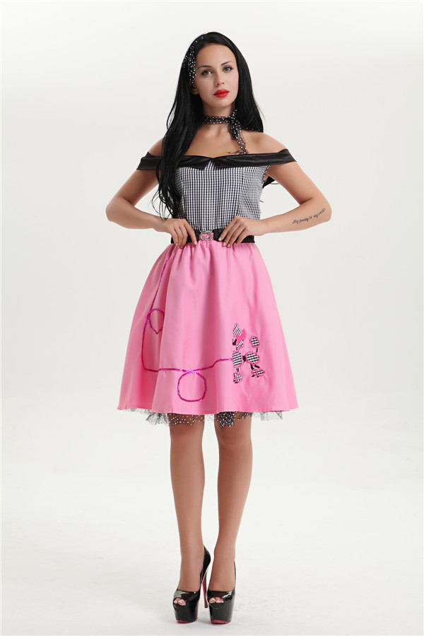944bd2c3c385 Free shipping 40s 50s 60s Ladies Fancy Dresses Adult Offer-Shoulder  Broadway Fantasy Halloween Costume Outfit Dress M-XL6843