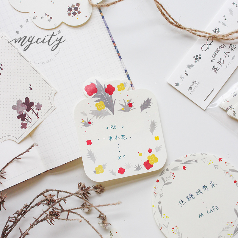 Japanese Kawaii Flowers Memo Pad Cute Post It Sticky Notes Planner To Do List Creative Office Decoration Stationery Supplies