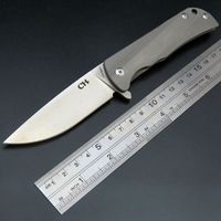 New Incoming CH Parallel Folding Knife D2 Steel Blade TC4 Titanium Alloy Handle Camping Knife Outdoor