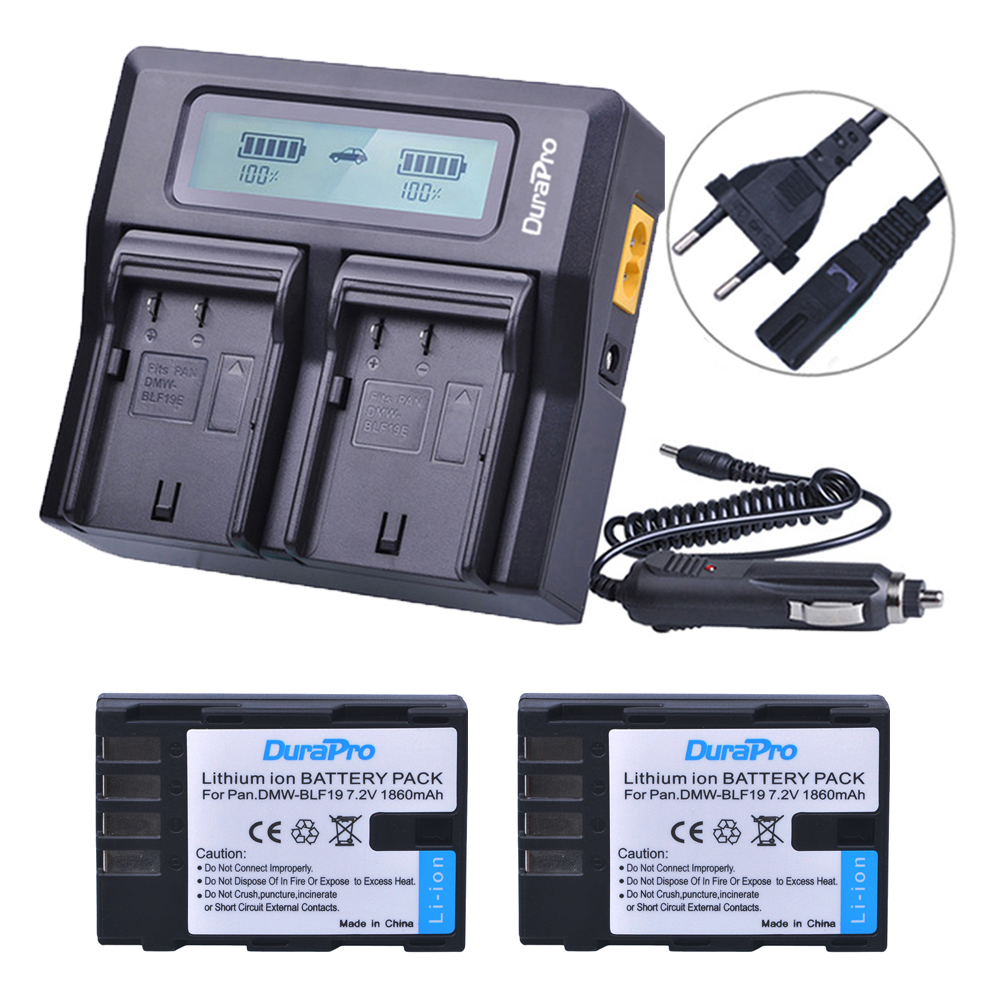 2X 1860mAh DMW-BLF19 DMW-BLF19E DMW-BLF19PP BLF19 BLF19E Battery +LCD Display Dual Quick Charger for Panasonic Lumix GH3 GH4 GH5 приспособление для чистки поршневых канавок jtc 1349