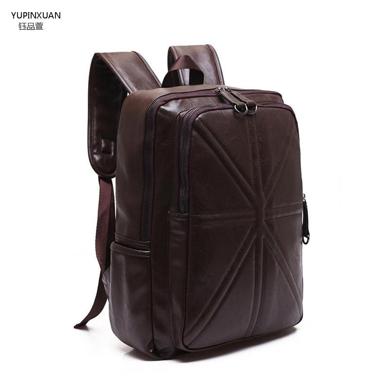 ФОТО YUPINXUAN Mens PU Backpacks Large Capacity Leather Laptop Backpack Students Travel Back Pack Male Big School Rucksacks Mochila