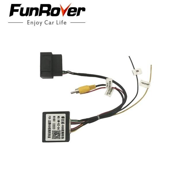 FUNROVER Hot RGB to AV CVBS Signal Converter Adapter Box for OEM Factory Rearview Backup Camera for VW Volkswagen Passat Magotan