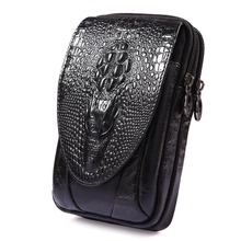 Men Leather Crocodile Grain Pattern Vintage Cell/Mobile Phone Cover Case Skin Hip Belt Bum Fanny Pack Waist Bag Purse