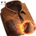 Langmeng 2016 100% de Algodón Nueva WarmLong Corduroy Slim fit Hombres Camiseta de Manga Larga Camisa Masculina Camisas Casuales Para Hombre del Envío Libre