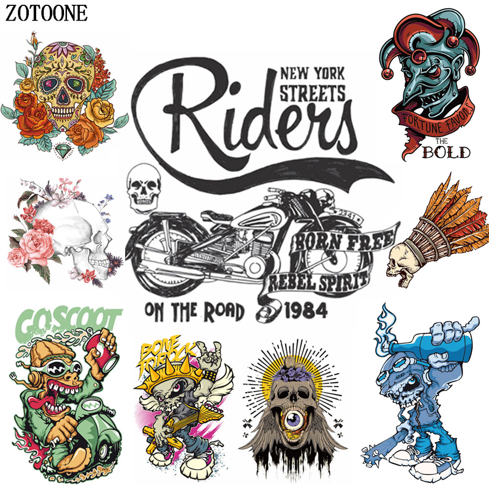 ZOTOONE Punk Rocky Skull Patches Applique Iron on Flower for Clothing Motorcycle Heat Transfers Clothes DIY Kid Gift