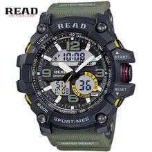 読むスポーツウォッチシリコンストラップ大デジタルダイヤル男性腕時計ミリタリー軍腕時計バックライトアラーム時間ストップウォッチ男