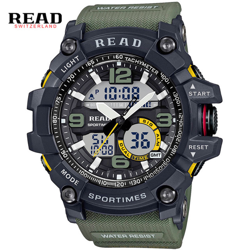 READ Sports Watches Silicone Strap Large Digital Dial Men Watches Military Army Wristwatch Back Light Alarm hours stop watch man