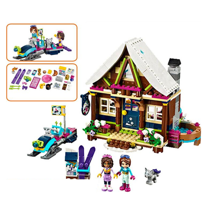 Model Building Kits Model Building Systematic 514pcs Legoings Friends Girl Series Snow Resort Chalet Diy Building Blocks Kit Toys Gifts