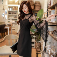 original new design 2018 brand spring high waisted flare sleeve elegant short lace black 2 pieces party dresses women wholesale