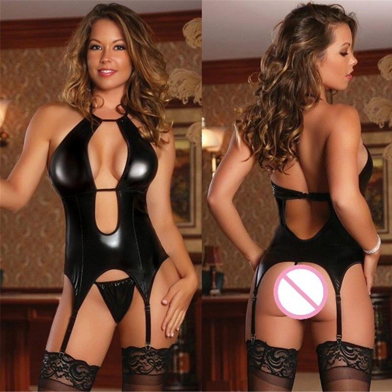 2018 Sexy Hot Lingerie Erotic Underwear For Women Leather Latex Babydoll Pole Dance Game Uniform Erotic Lingerie M-4XL Plus Size