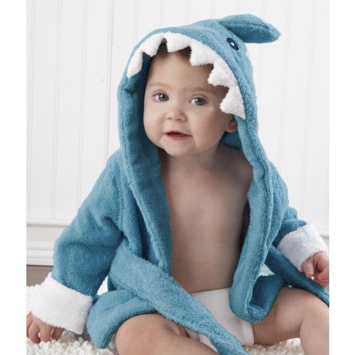 Розничная ; банные халаты для малышей; детское банное полотенце; Банное полотенце с капюшоном для младенцев; банный халат с рисунками животных; модельный банный Халат - Цвет: Cyan shark