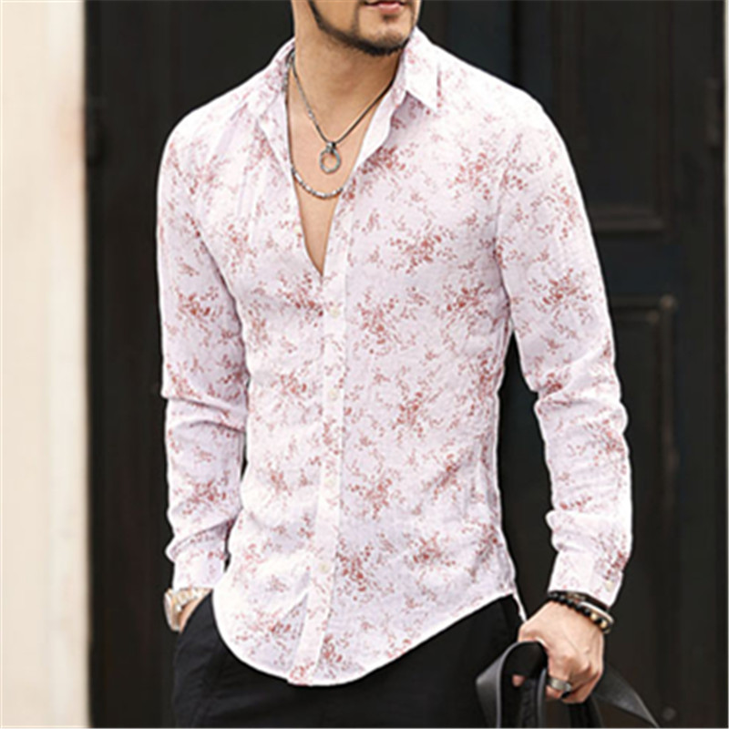 Compare Prices on Flower Print Mens Linen Shirts- Online Shopping ...