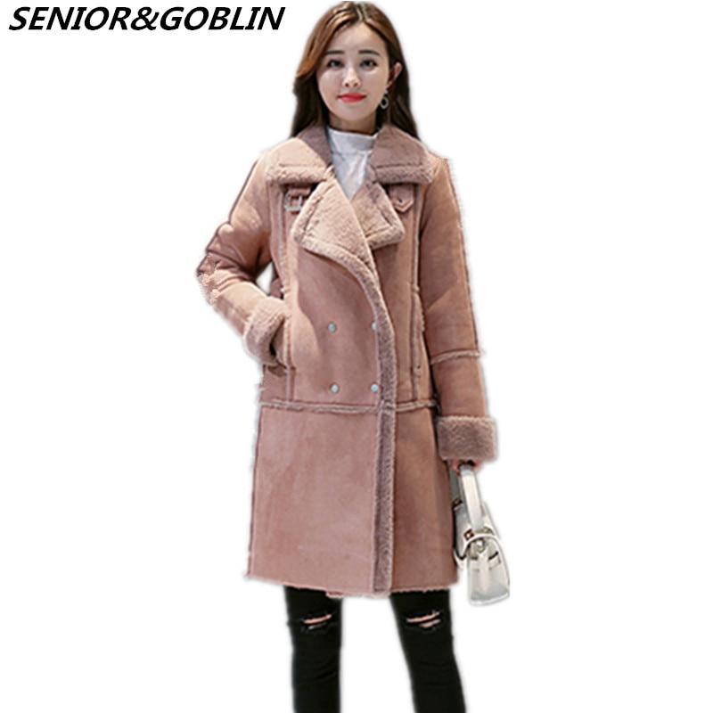 En Femme Mouton Coton Suede Manteau dark Lâche Vestes Femmes Hiver Épaississent Pink Haute Gray La De 2018 Faux Peau Cuir Moyen Qualité Taille Long Manteaux Plus Dusty 10IxTw