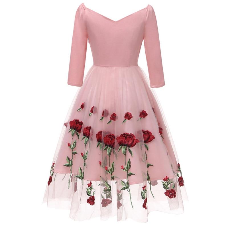 Elegant Net yarn Dress Female 7 minutes sleeve Evening Party Dresses formal dress Women Big Size The embroidery evening Dress in Evening Dresses from Weddings Events