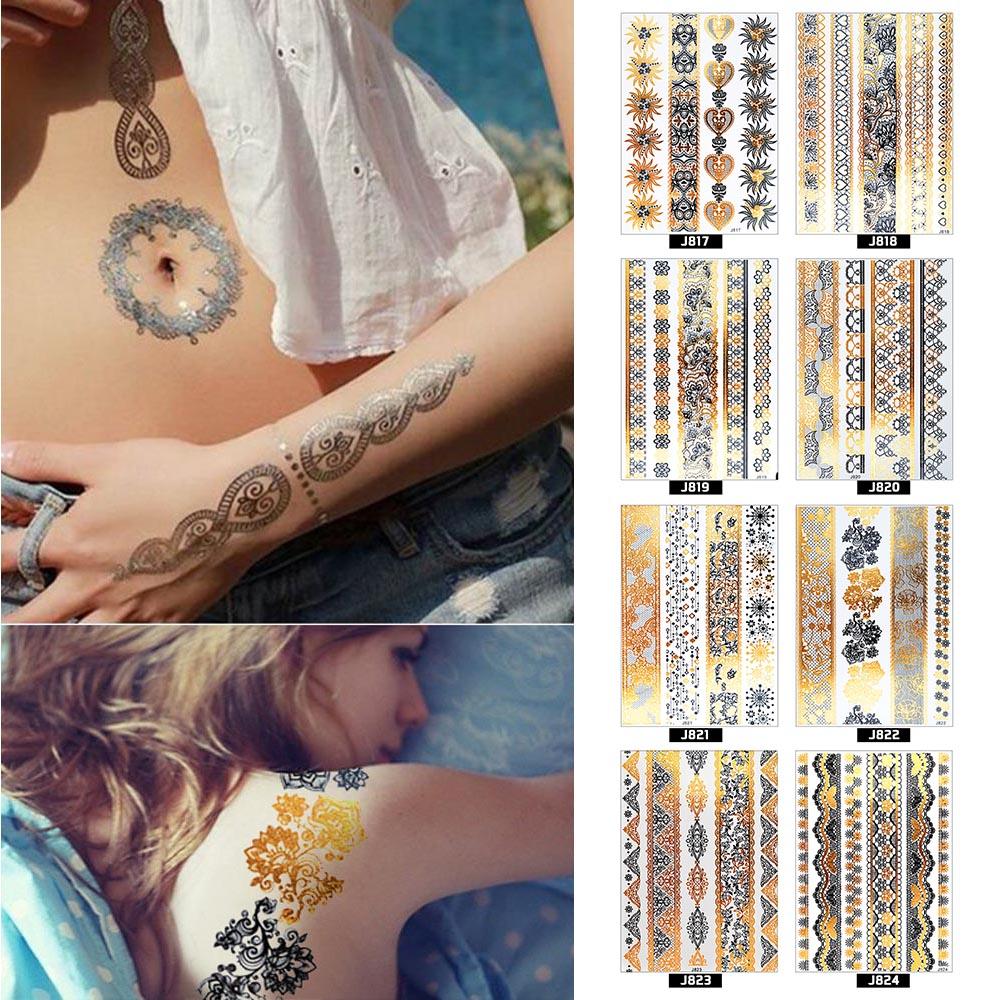 Atomus 1 Pz Foglia Temporaneo Tatuaggi Autoadesivo/autoadesivo Di Arte Del Chiodo Metallico Prodotti Del Sesso Dei Monili Hennè Tatouage Body Art Tatuaggio Sticker