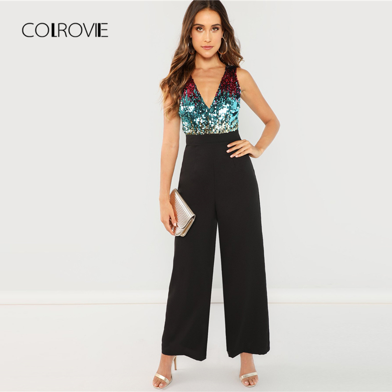 4b76cbc640ed COLROVIE Black Bodice Color Block Wrap Elegant Sequin Jumpsuit Women 2018  Sleeveless Office Overalls Female Sexy Jumpsuits-in Jumpsuits from Women s  ...