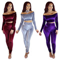 Womens Sexy Velvet Long Sleeve Boat Neck Tops Bodycon Jumpsuits Long Pants Clubwear Clothes 2 Pieces