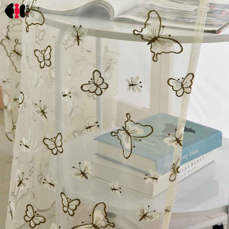 Бабочки Тюль гардины и карнизы белый органза тюлевые ткани готовые шторы для кухни панель WP270D